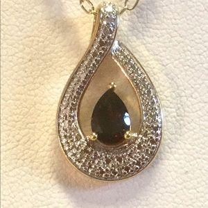 Jewelry - Garnet necklace with diamond Accent